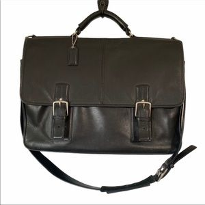 Coach Thompson Briefcase Black Leather Laptop Bag